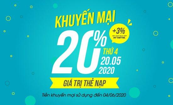 Viettel khuyến mại 20% giá trị tất cả thẻ nạp, duy nhất trong ngày 20/05/2020
