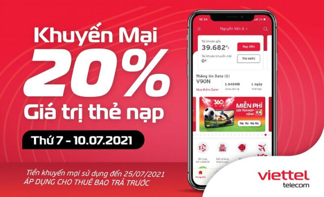 Viettel khuyến mại 20% giá trị thẻ nạp Ngày 10/07/2021