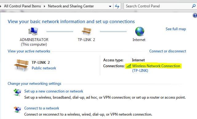 bạn kích chuột vào Connections mạng Wi-Fi đang dùng